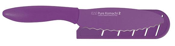 "KAI Pure Komachi 2 Bagel/Sandwich Knife 6"" w/Sheath (Lt. Purple)"