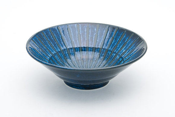 "Radial Blue Bowl (9.5"" x 3.25"")"