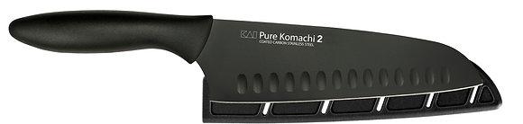 "KAI Pure Komachi 2 Santoku Hollow-Ground Knife 6.5"" w/ sheath (Black)"