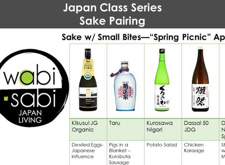 """Japan Class Series - Sake Pairing, """"Spring Picnic"""" April 27, 2019"""