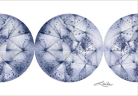 World 5 (blue) triptych