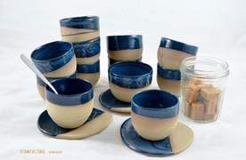 Tasses à café - émail bleu
