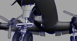 Nose undercarriage,wireframe detail