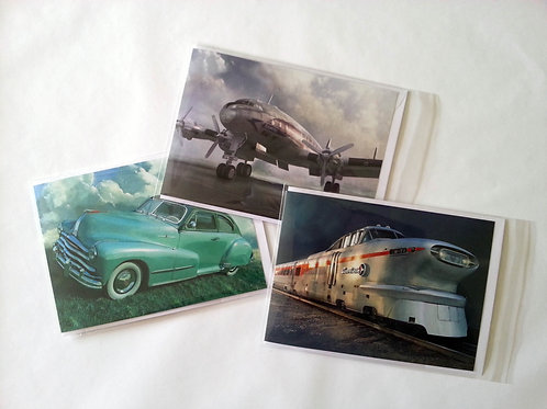 Set of 6 greeting cards featuring Iconic Vehicles
