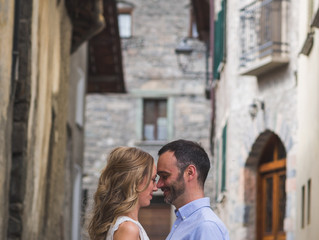 Post-wedding shoot in the streets of Bormio with Rose and Chris