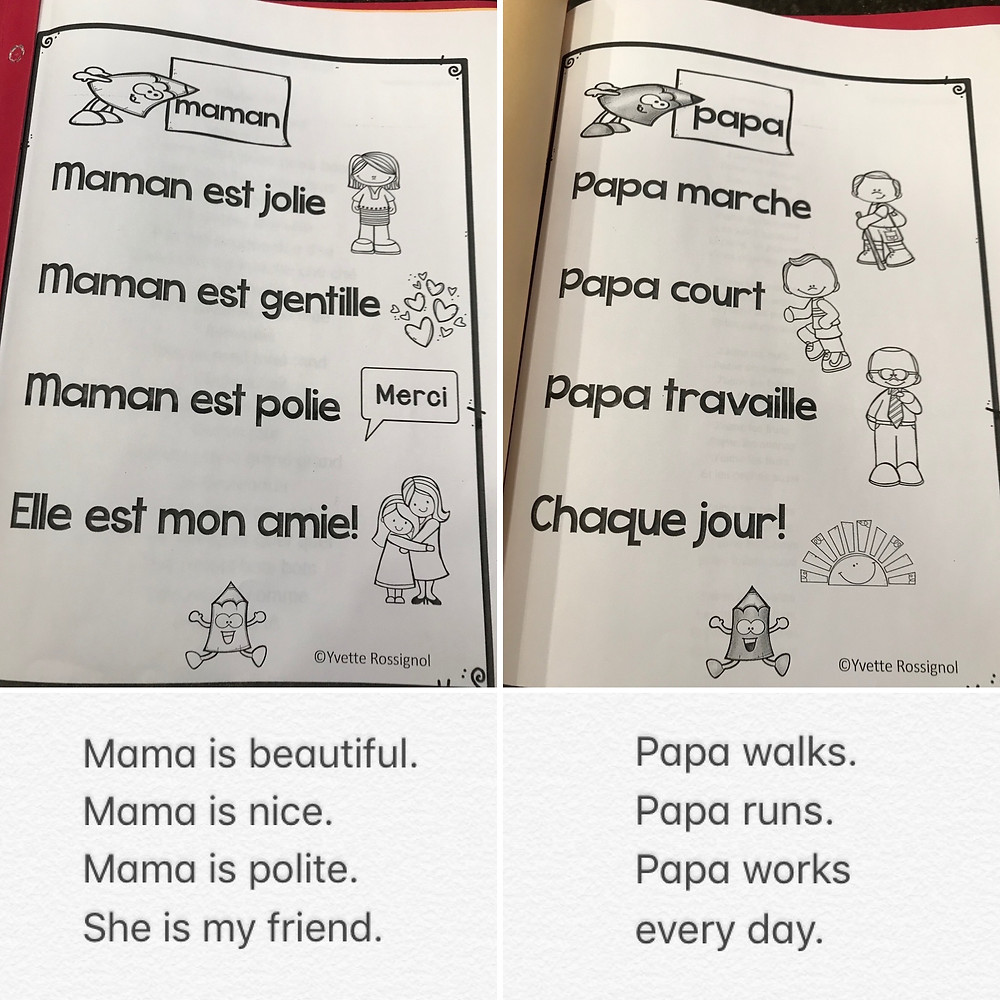 A collage of four images: two french language kindergarten worksheets on top with the english translations on the bottom.