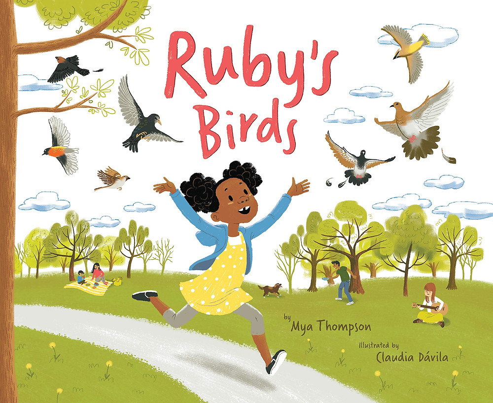 Cover of Ruby's Birds with a young Black girl cavorting in a public park with birds flying