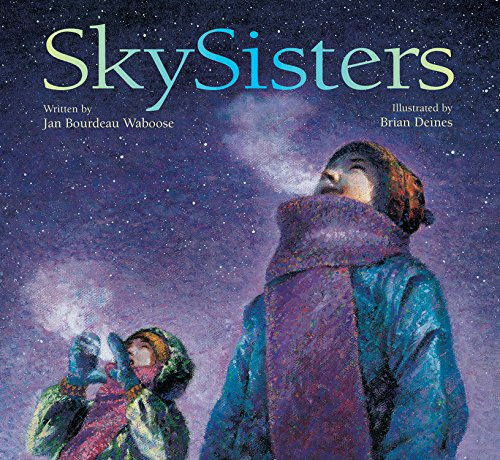 Sky Sisters book cover with two girls staring at the night sky and stars