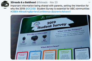 Important information being shared with parents, setting the intention for why the 2019  @OCDSB   Student Survey is essential for ABC communities #OBEN #BreakingBarriersConference  @parents4divers1