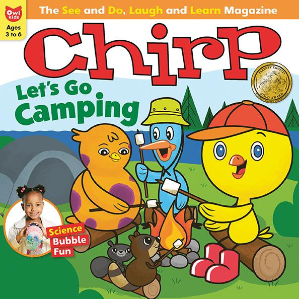 "Cover of Chirp Magazine ""Let's Go Camping"" issue"