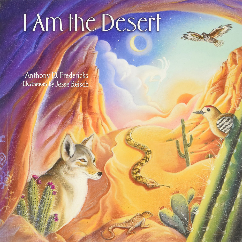 Cover of I Am the Desert, a painting of a desert lanscape including a coyote and raptor
