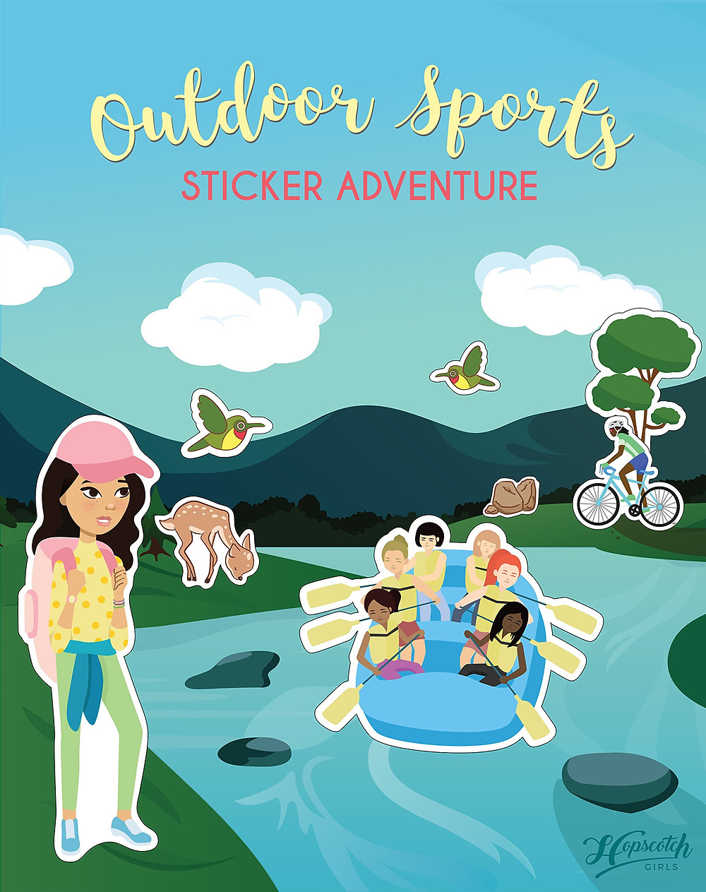 Cover of Outdoor Sports Sticker Adventure with girls of many identities paddling a boat a river