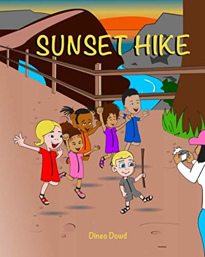Sunset Hike book cover with children on a hiking trail and sunset in the background