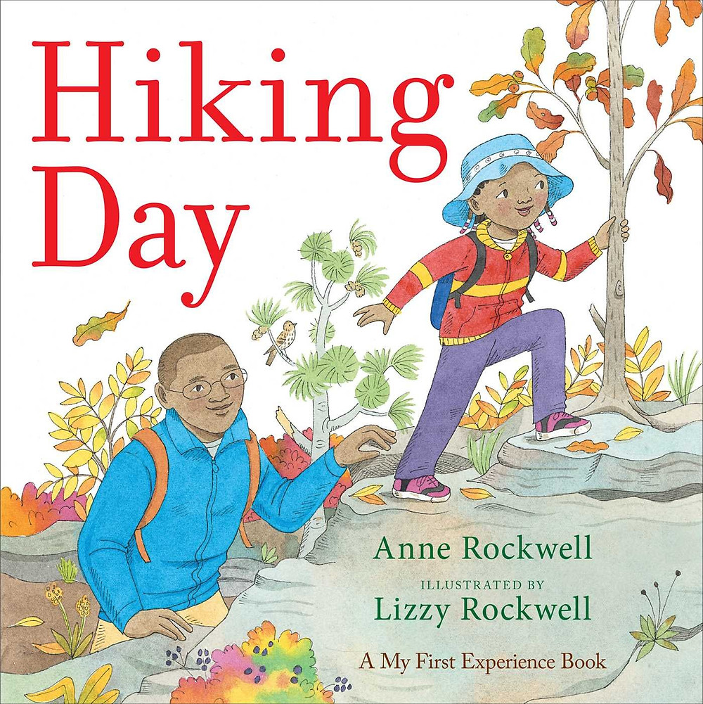 Cover of Hiking Day showing a young Black girl and her father hiking up a rocky hill
