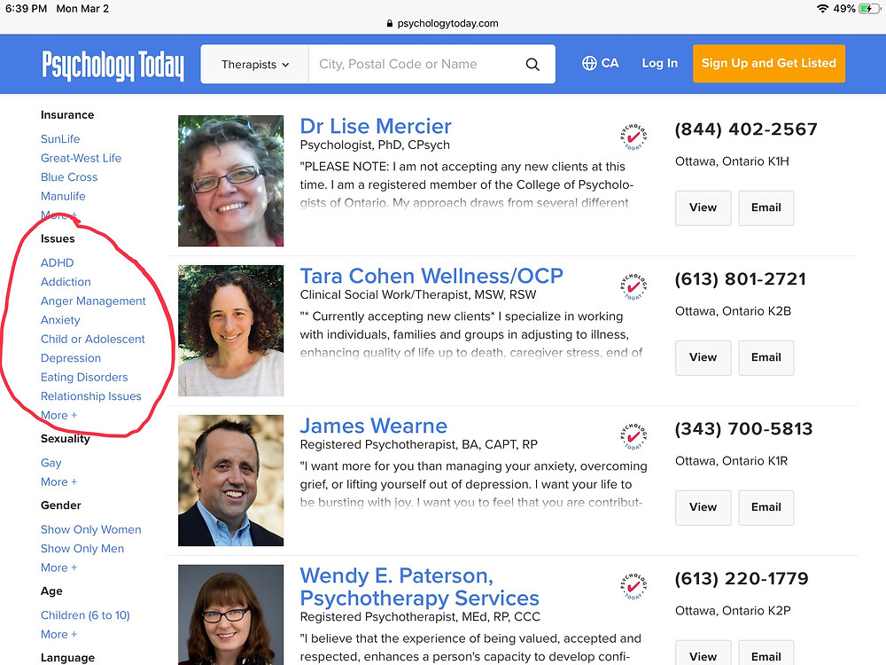 "Screen shot of the search and filter screen of Psychology Today's ""Find a Therapist"""