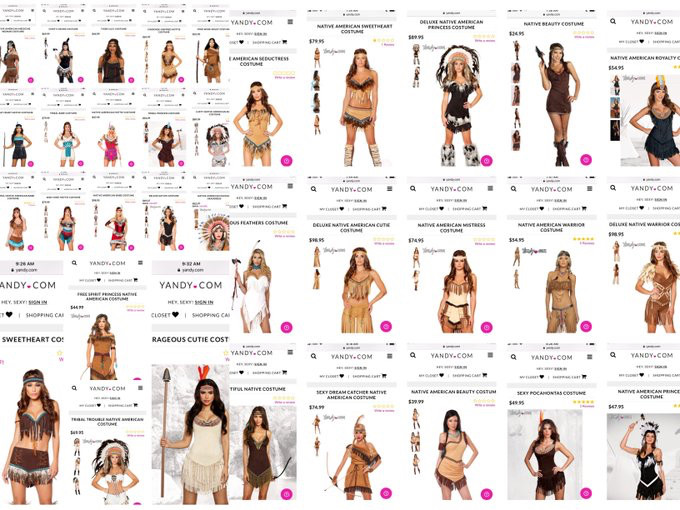 A collage of costumes from the Yandy.com costume site featuring stereotypical and racist depictions of Indigenous women as costumes