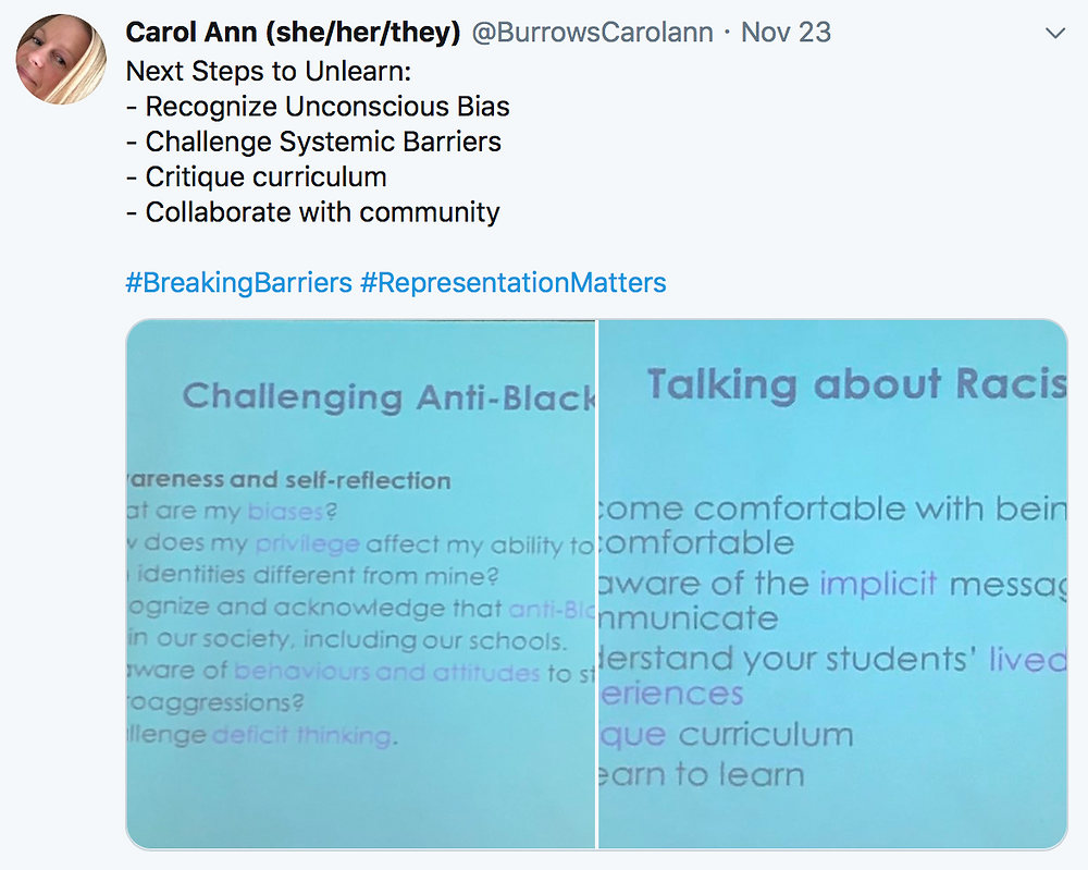 Next Steps to Unlearn:  - Recognize Unconscious Bias - Challenge Systemic Barriers  - Critique curriculum - Collaborate with community   #BreakingBarriers #RepresentationMatters