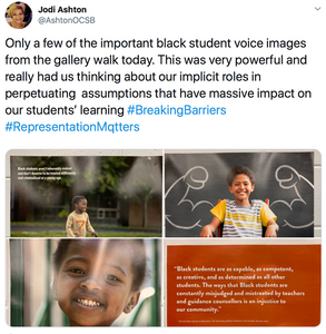 Only a few of the important black student voice images from the gallery walk today. This was very powerful and really had us thinking about our implicit roles in perpetuating  assumptions that have massive impact on our students' learning #BreakingBarriers #RepresentationMqtters