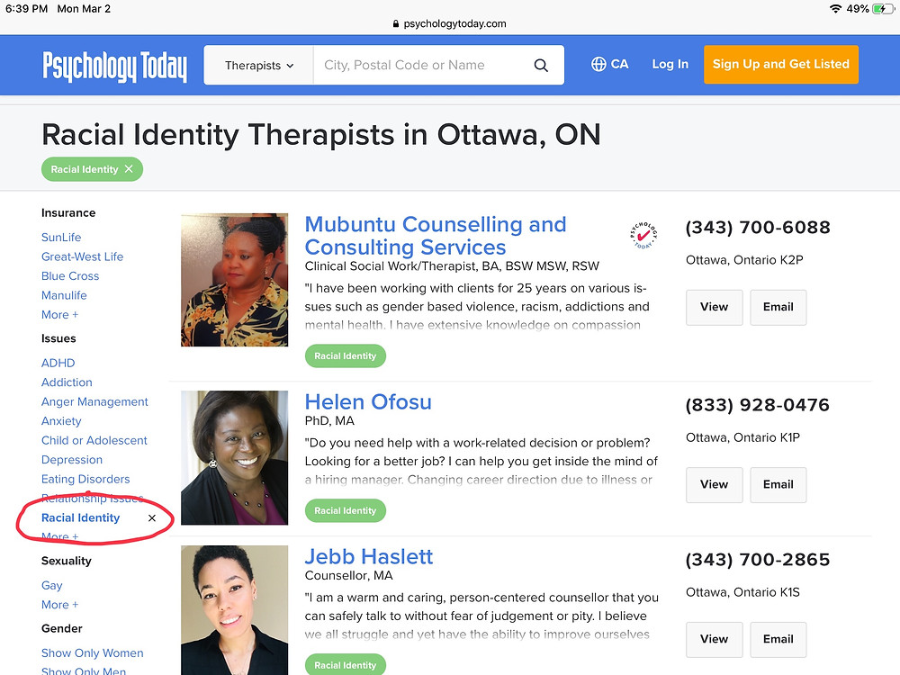 Screen shot of the search and filter screen of Psychology Today's Find a Therapist tool