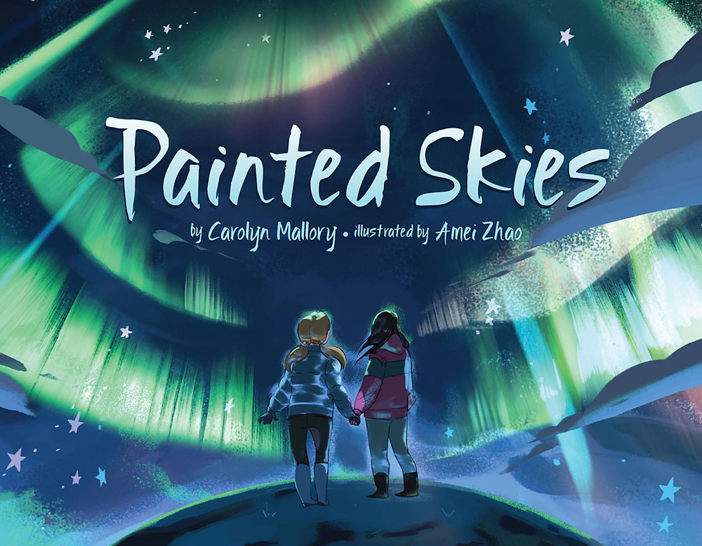 Cover of Painted Skies with two young girls looking at the northern lights
