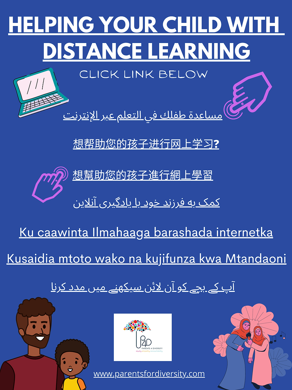 "A blue rectangle with the text ""Helping Your Child With Distance Learning"" Click Link Below. Eight links in Arabic, Simplified Chinese, Chinese, Farsi/Persian, Somali, Swahili, and Urdu and then listed in order, with the P4D umbrella logo and graphics of adults and children at the bottom"