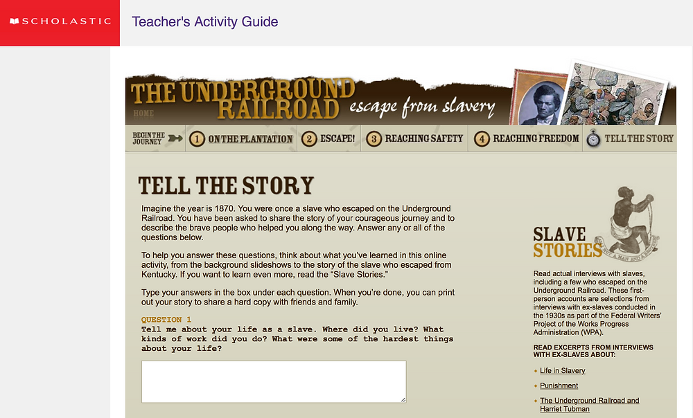 """Screen shot of a Scholastic Teacher's Activity Guide """"The Underground Railroad"""""""
