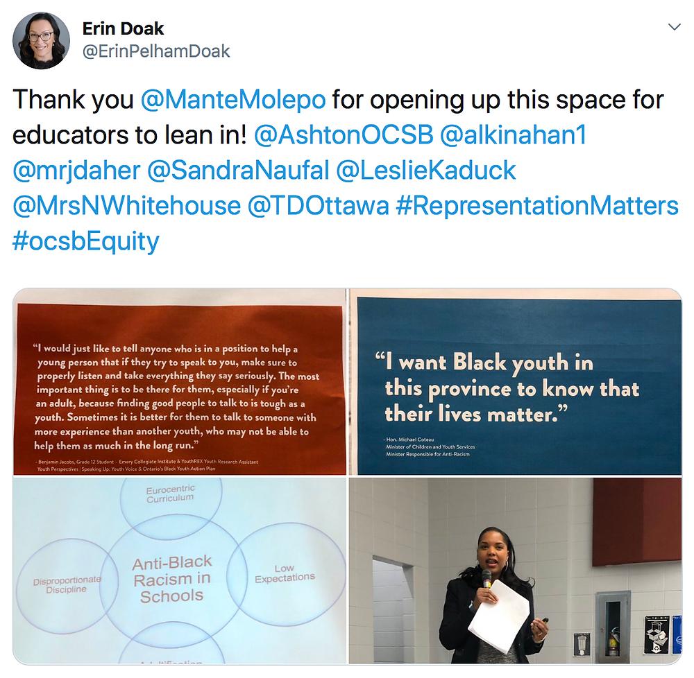 Thank you @ManteMolepo for opening up this space for educators to lean in! @AshtonOCSB @alkinahan1 @mrjdaher @SandraNaufal @LeslieKaduck @MrsNWhitehouse @TDOttawa #RepresentationMatters #ocsbEquity