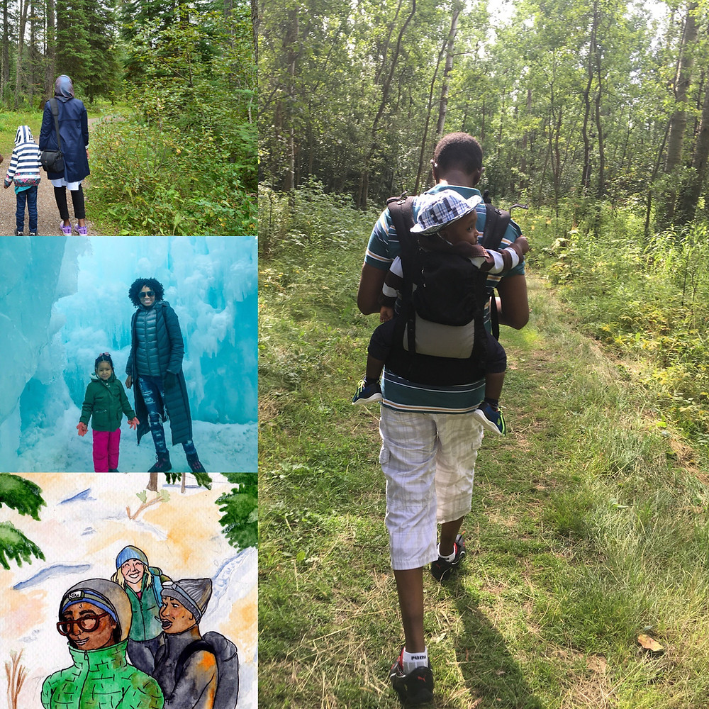 A composite of four images, including three photographs of Black parents with their children in the outdoors and a water-colour painting of three hikers on a mountain