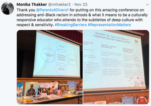 Thank you  @Parents4Divers1  for putting on this amazing conference on addressing anti-Black racism in schools & what it means to be a culturally responsive educator who attends to the subtleties of deep culture with respect & sensitivity. #BreakingBarriers #RepresentationMatters