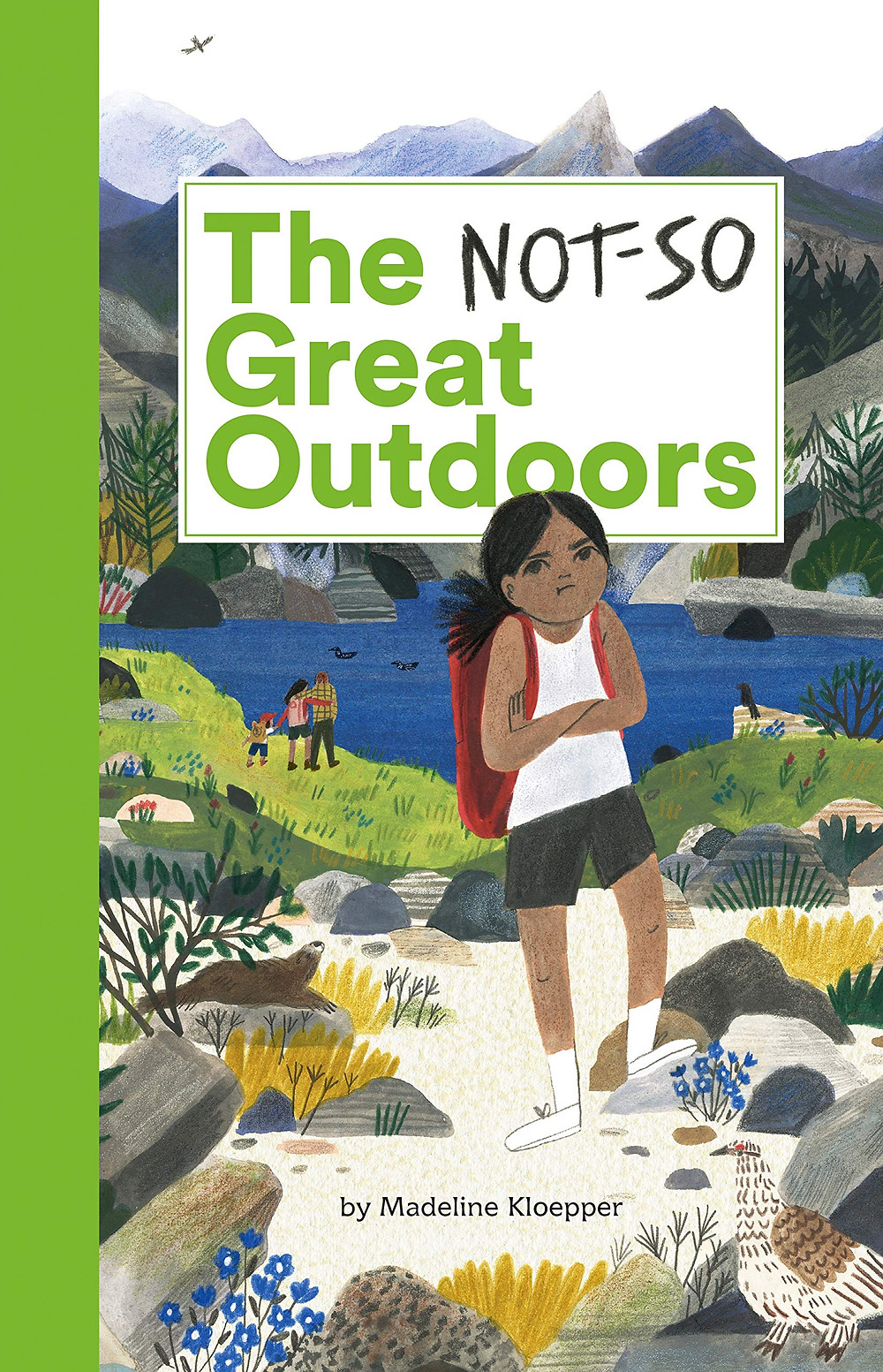 The cover of The Not-So Great Outdoors with a dark-skinned girl pouting on the shores of a mountain lake with her family in the background
