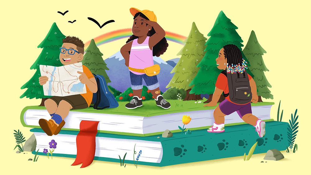 illustration of three dark brown skinned children playing on a pile of books in the woods
