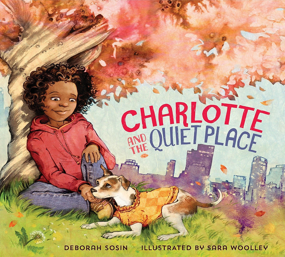 Cover of Charlotte and the Quiet Place with a young Black girl and a dog under a tree with a cityscape in the background