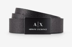 ARMANI EXCHANGE Cintura in pelle con fibbia logata