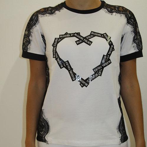 BLUGIRL FOLIES T-shirt manica corta con inserti in pizzo