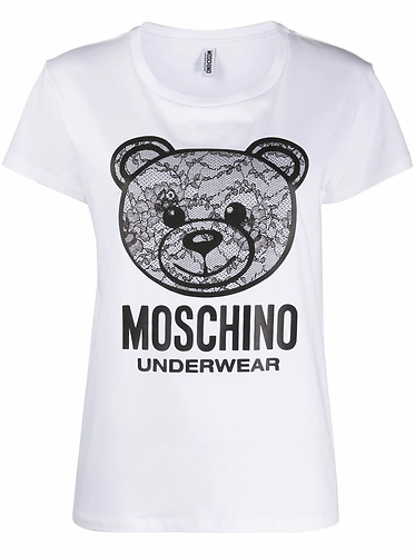 MOSCHINO T-Shirt Teddy stampa in pizzo
