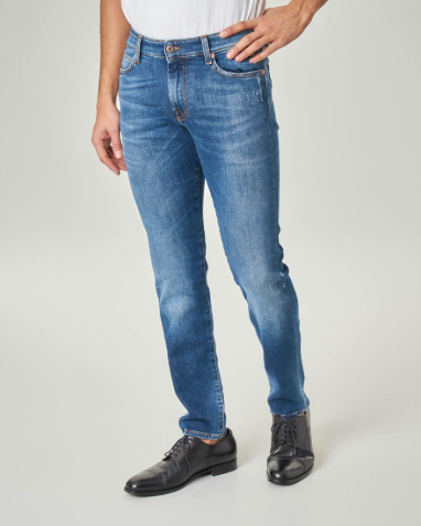 ROY ROGER'S Jeans slim lavaggio medio stone washed