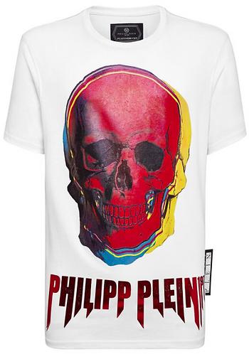 PHILIPP PLEIN T-Shirt con maxi stampa fluo Skull
