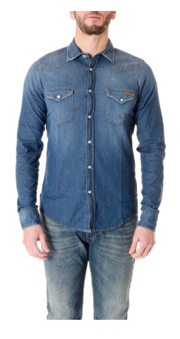 ROY ROGER'S Camicia in jeans elasticizzato stone wash
