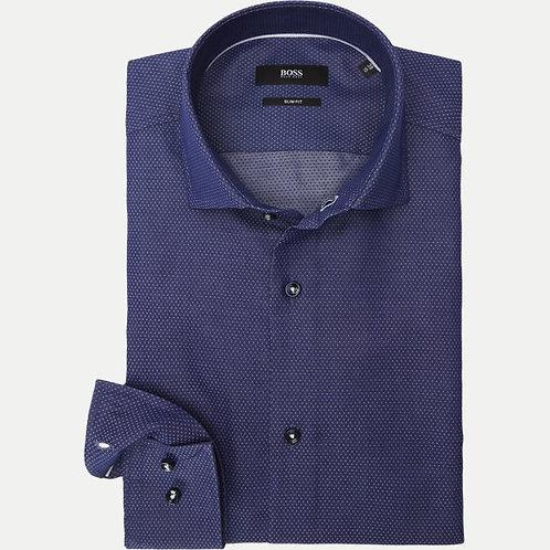 BOSS Camicia in cotone con bottone in contrasto