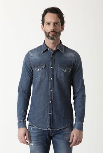 ROY ROGER'S Camicia in jeans elasticizzato effetto used