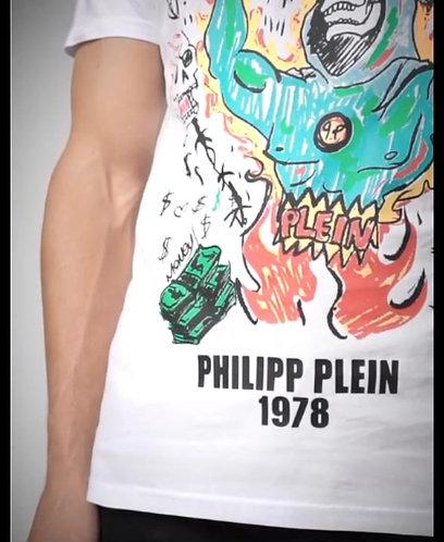 PHILIPP PLEIN T-shirt manica corta con stampa e swarovsky