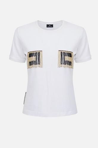 ELISABETTA FRANCHI T-shirt con logo perline