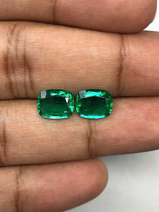 Zambian Emerald Cushion Pair 4.30 Carat