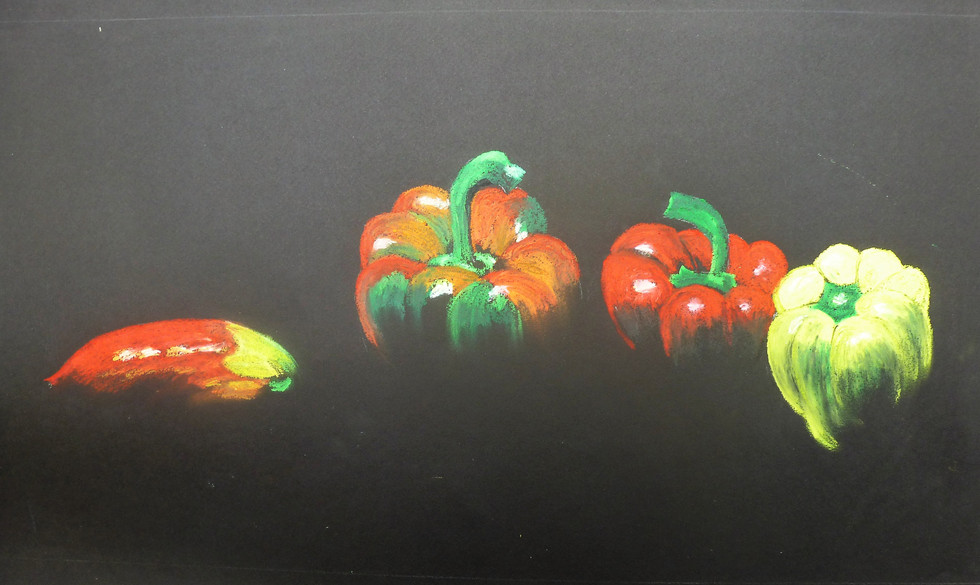 Anita Loiseleur-les poivrons_pastel gras