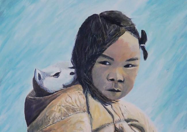 Alain Fortier-la petite Inuit et son husky