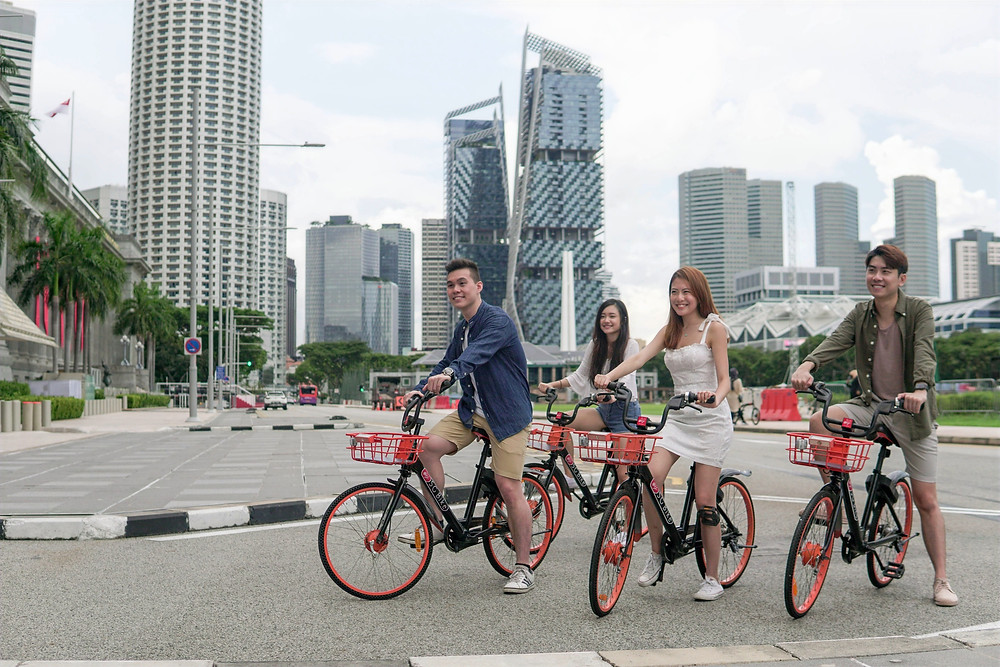 Group of users riding their SG Bike