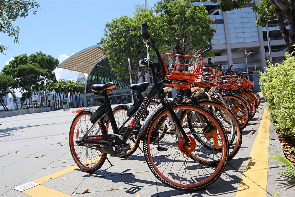 SG Bike parked in an orderly manner in Singapore
