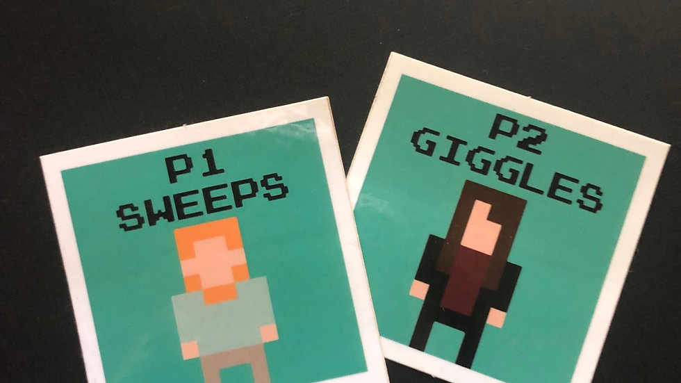 Sweeps and Giggles 8 bit sticker set