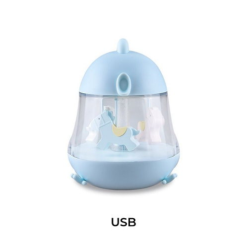 CHICKLET lamp with carousel music box - blue
