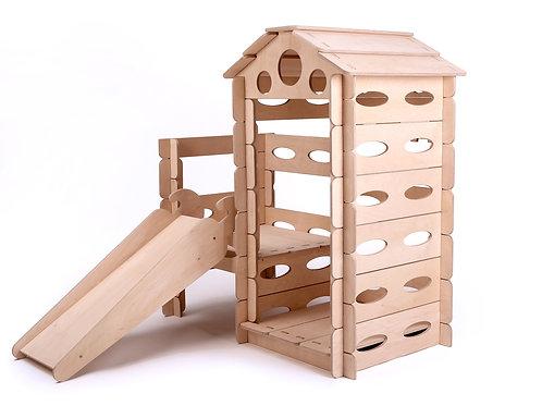 BUILD & PLAY MONTESSORI PLAYHOUSE + Stairs, Slide